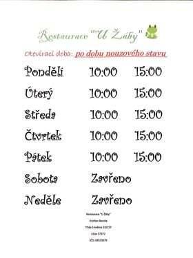 Změna otevírací doby v restauraci U Žáby