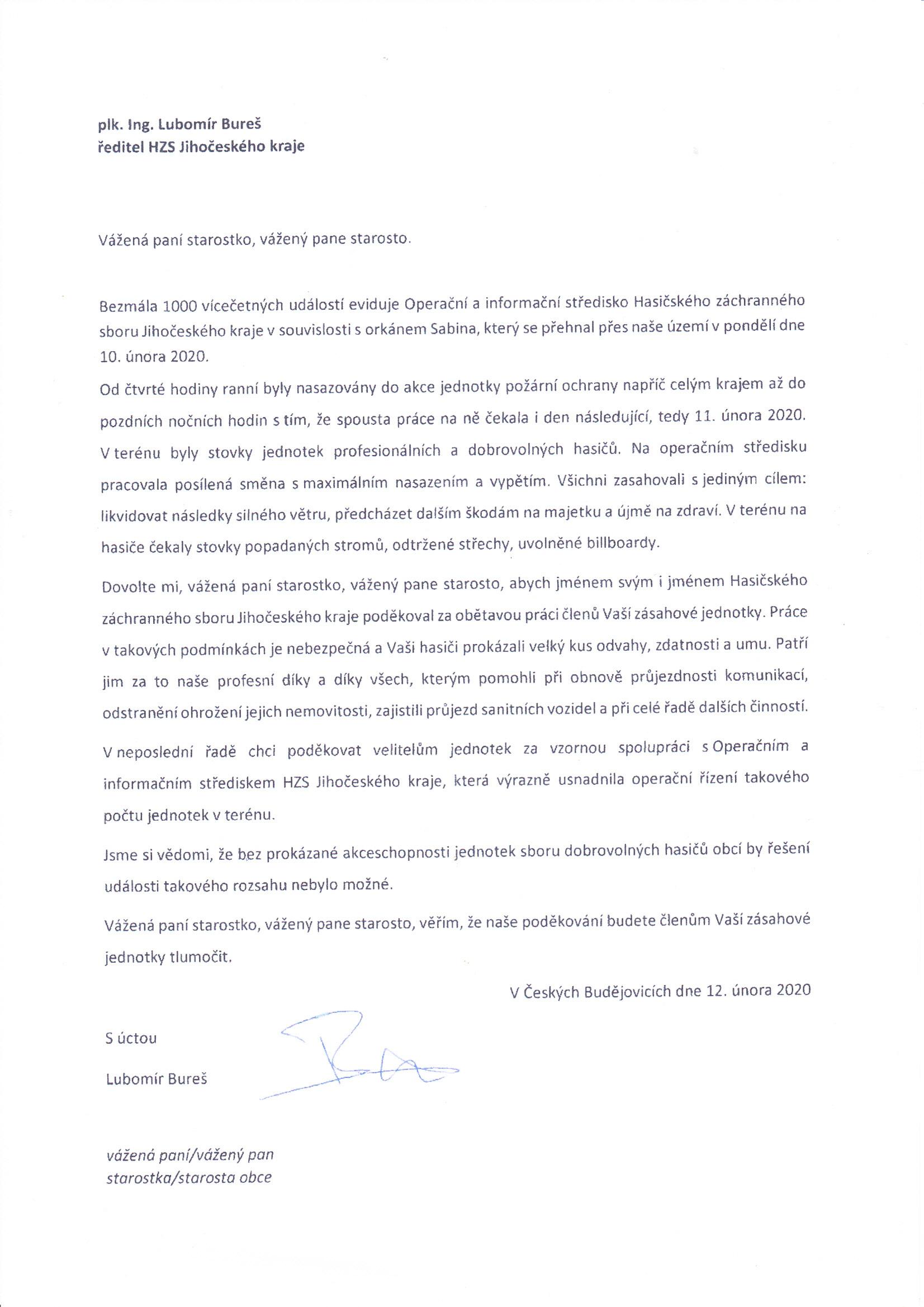 Poděkování velitele HZS JčK zásahovým jednotkám obcí