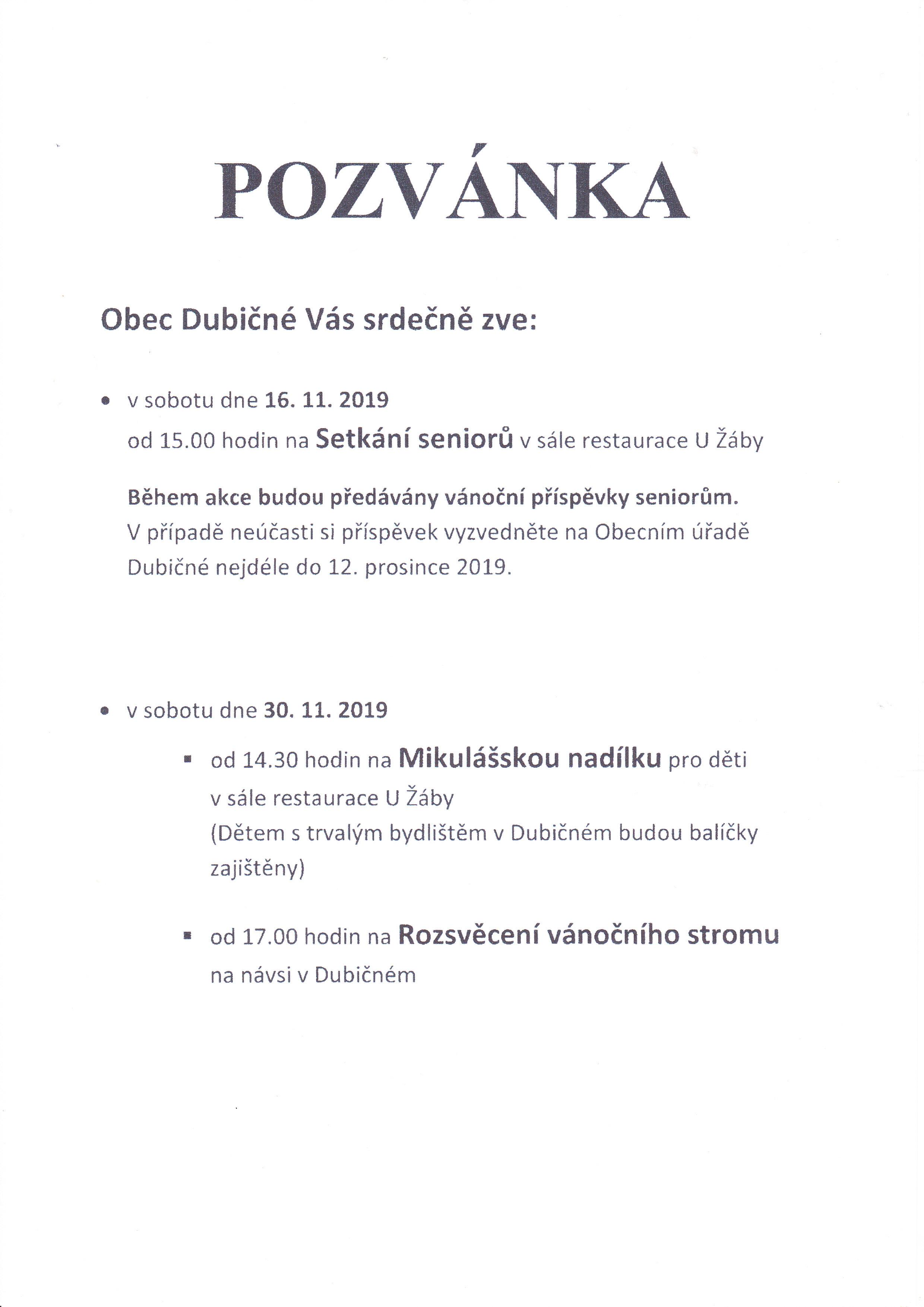 Pozvánka  na akce koncem roku 2019