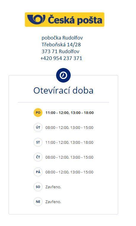 Změna otevírací doby-pošta Rudolfov od 9.11.2020